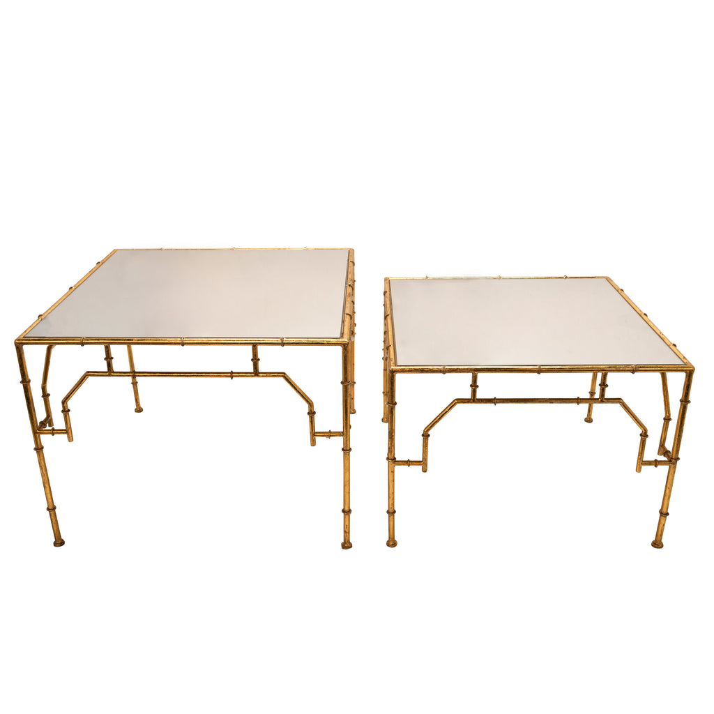 S/2 Square Gold Accent Tables,  Mirror