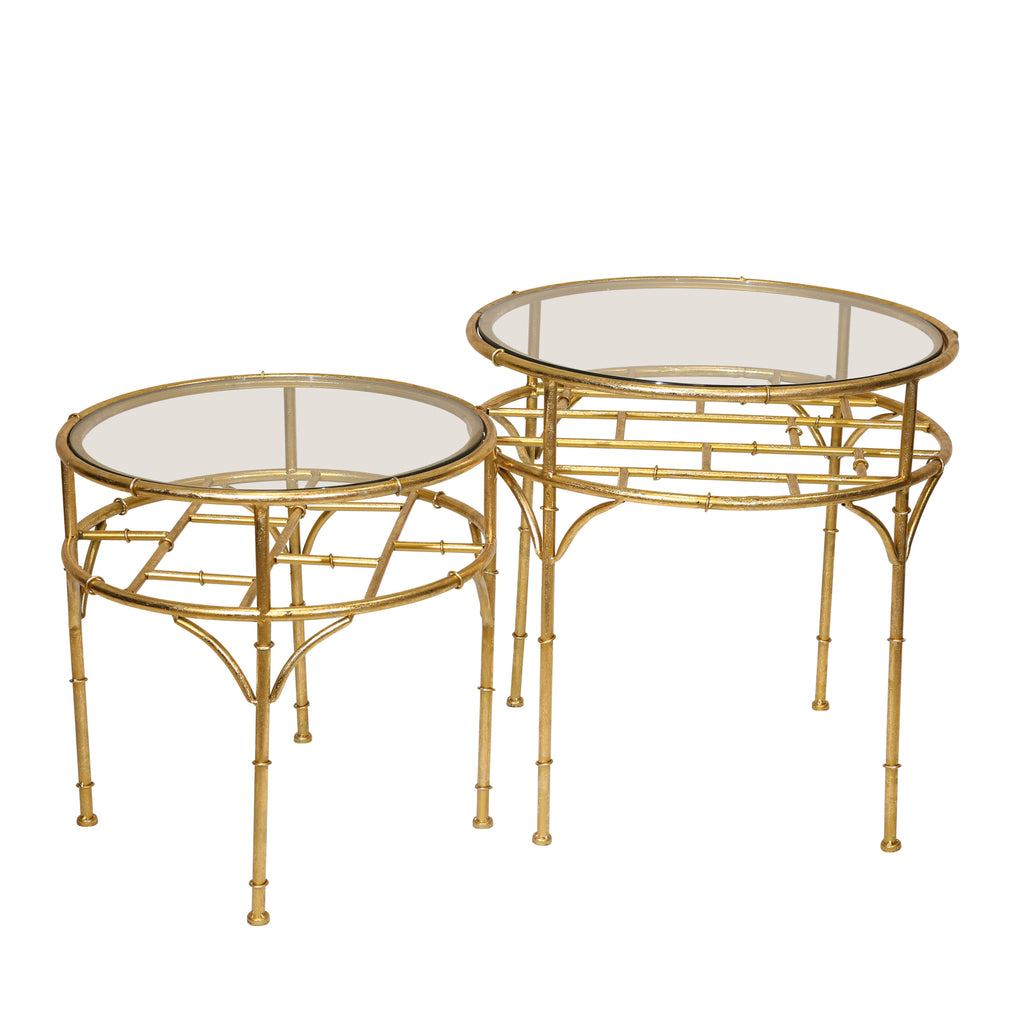 S/2 Round Gold Accent Tables,Glass Top