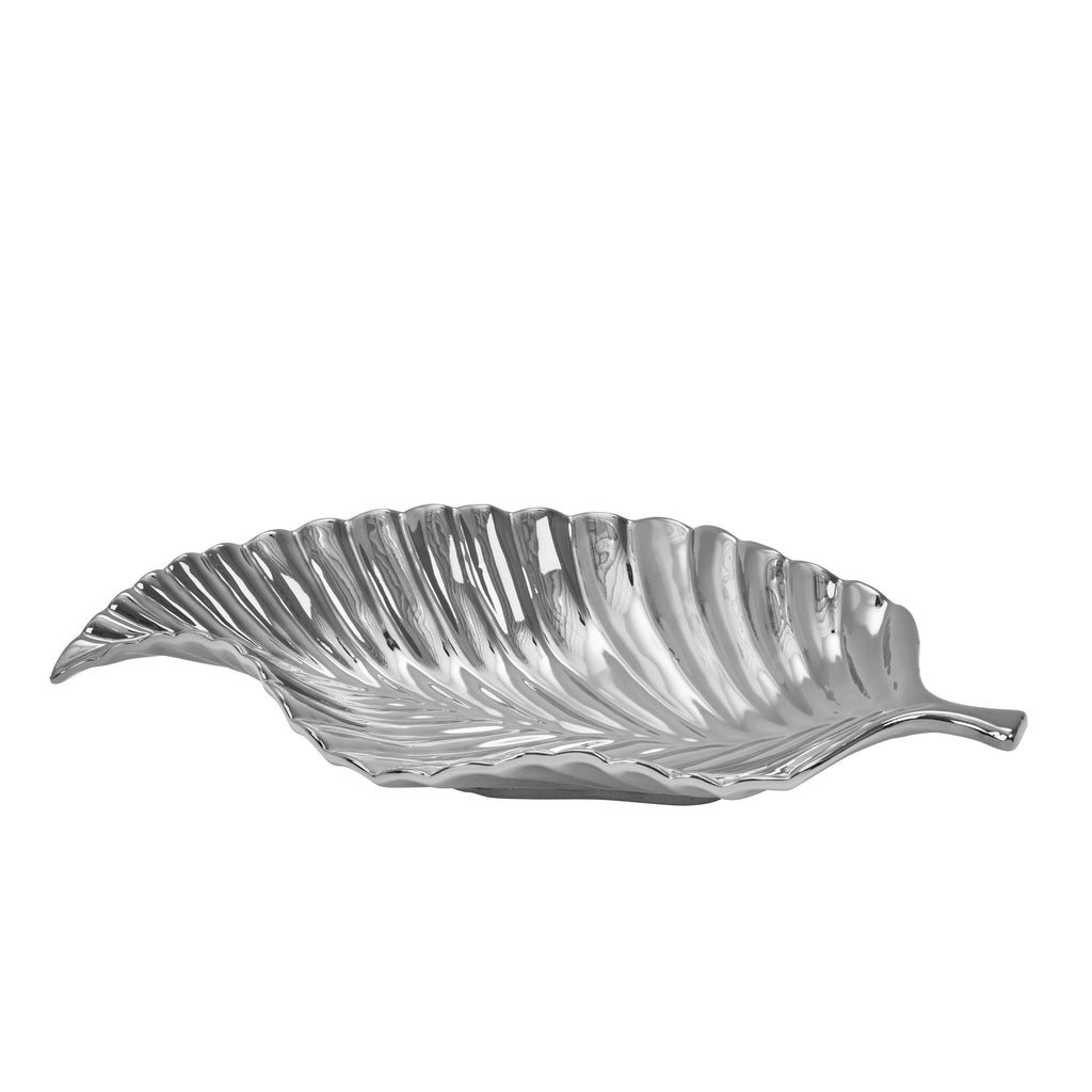 Ceramic Leaf Tray, Silver Birch