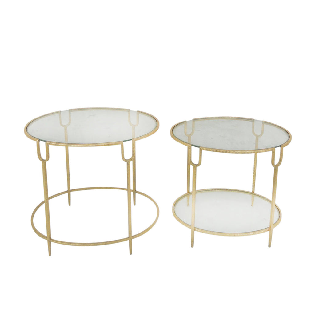 S/2 Round Gold Accent Tables, Glass Top