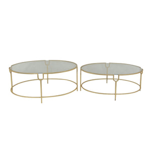 S/2 Gold Oval Cocktail Tables, Glass Top