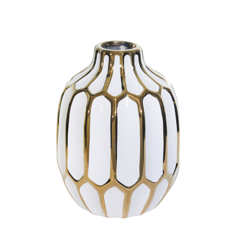 "Ceramic Vase 8"", White/Gold"