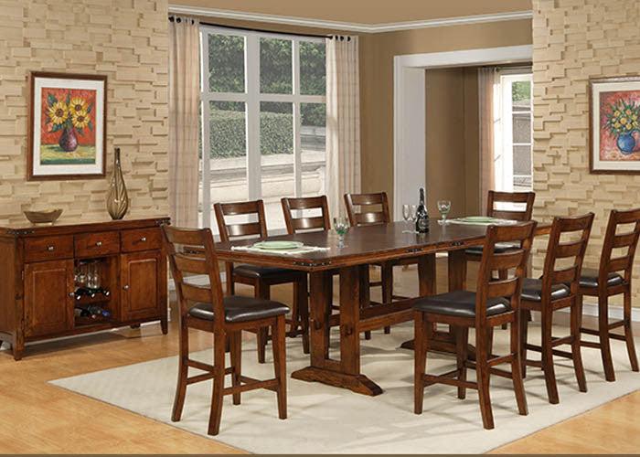 1268 Pub - Double Trestle Pub Table With 6 Ladder Back Pub Chairs, Pub Dining, American Imports, - ReeceFurniture.com - Free Local Pick Ups: Frankenmuth, MI, Indianapolis, IN, Chicago Ridge, IL, and Detroit, MI