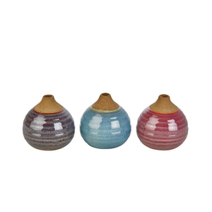 S/3 Glazed Bud Vases, Purple/Blue/Pink