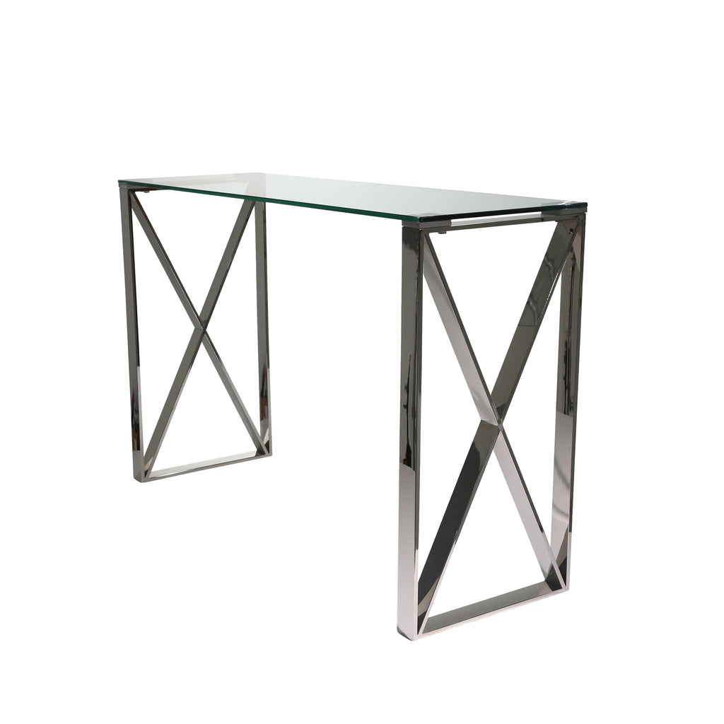 Silver Metal/Glass Console Table, Kd