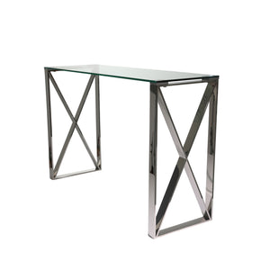 Silver Metal/Glass Console Table, Kd - ReeceFurniture.com