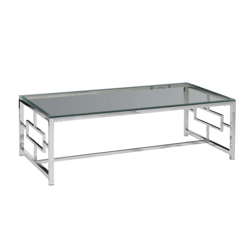 Silver Metal/Glass Cocktail Table, Kd - ReeceFurniture.com
