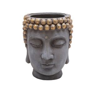 Resin Buddha Head Flower Pot,Grey & Gold