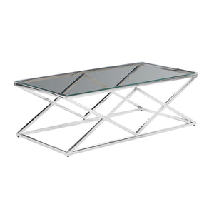 Silver/Glass Diamond Cocktail  Table, Kd - ReeceFurniture.com