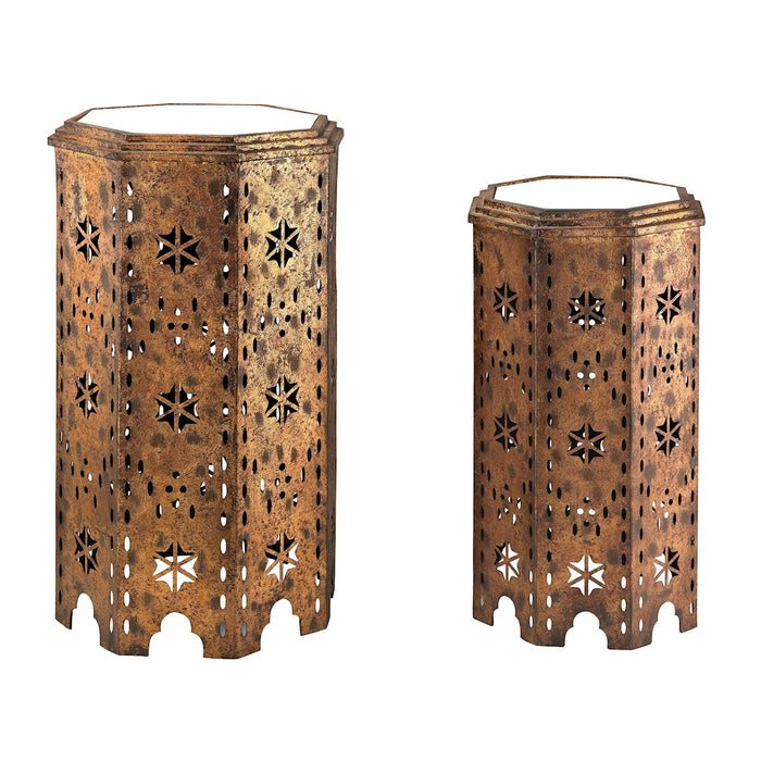 138-135/S2 Set Of 2 Moroccan Side Table With Mirrored Tops - Free Shipping!