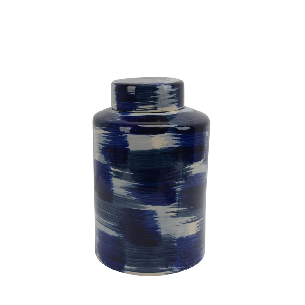 "Ceramic Jar W/ Lid 13.5"", White/Blue - ReeceFurniture.com"