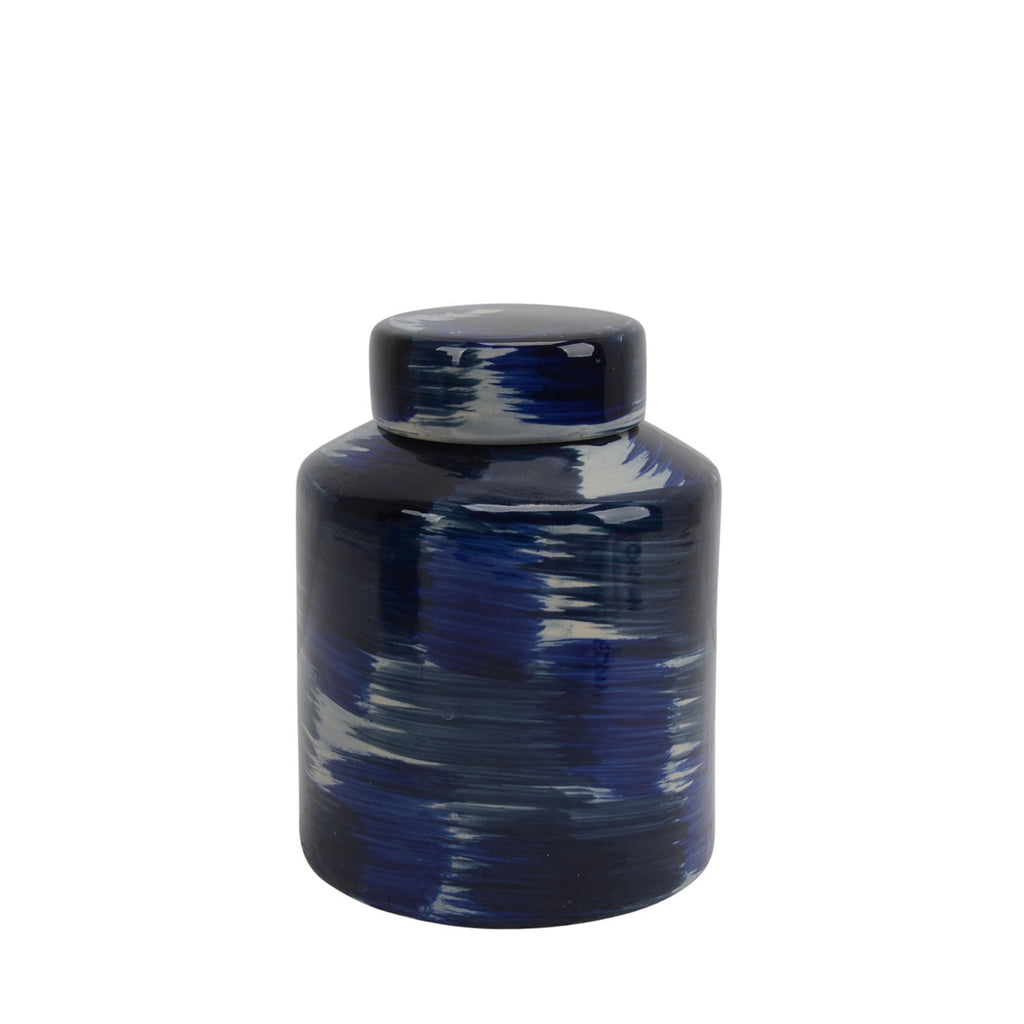 "Ceramic Jar W/ Lid 9"", White/Blue - ReeceFurniture.com"