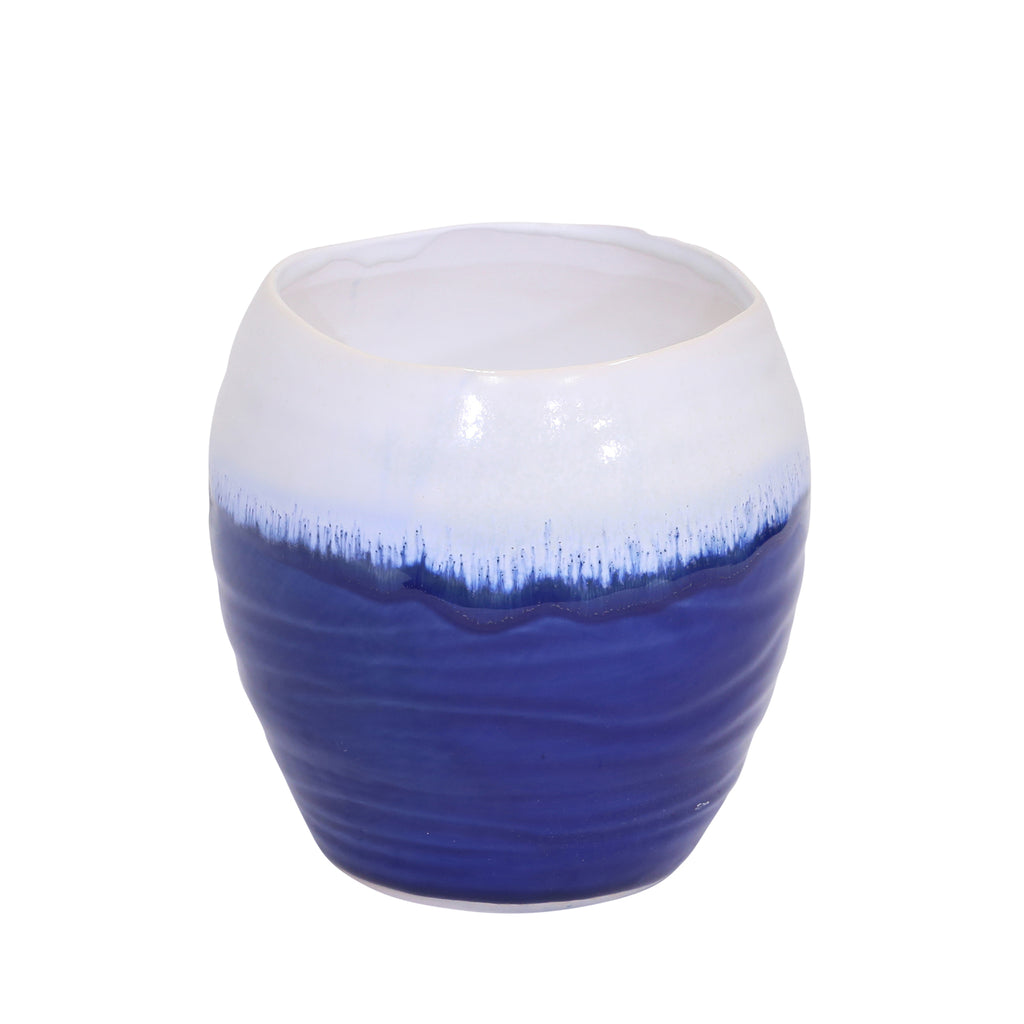"Ceramic Planter 6.5"", White /Blue - ReeceFurniture.com"