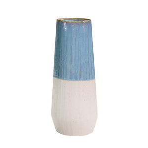 "Ceramic 15.5"" Vase, Blue/Ivory - ReeceFurniture.com"