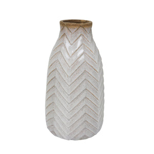 "Ceramic 12"" Tribal Look Vase,  Ivory"