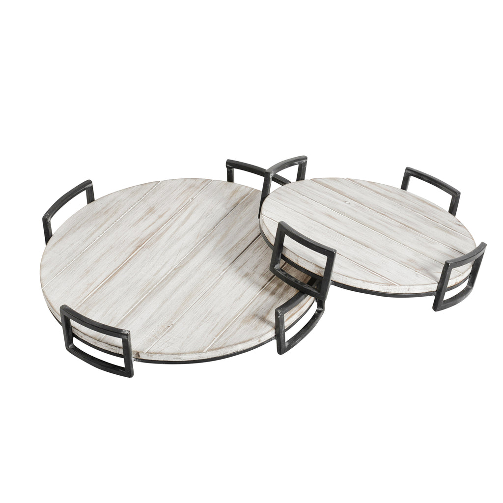 S/2 Round Wood Trays, Gray