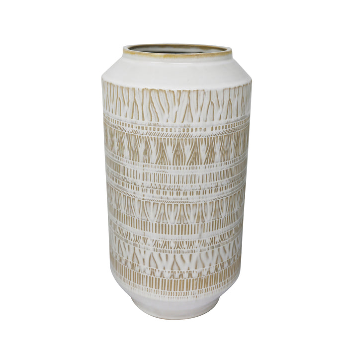 "Ceramic 13.75"" Tribal Look Vase, Beige"