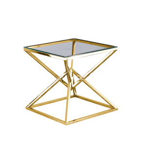 "Glass Top Side Table 21.75"", Gold"