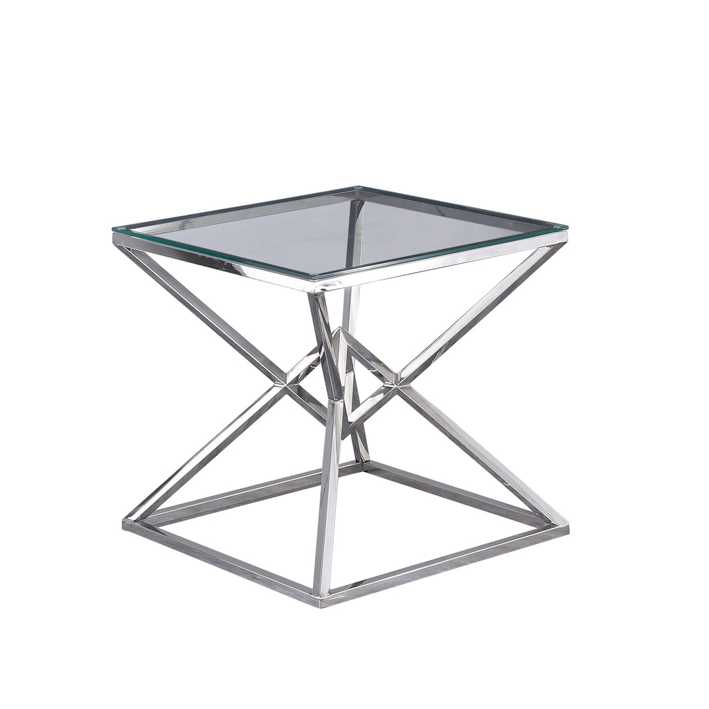 "Glass Top Side Table 21.75"", Silver"