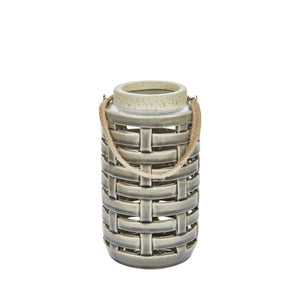"Ceramic Lattice Weave Lantern , 8"",Gray"