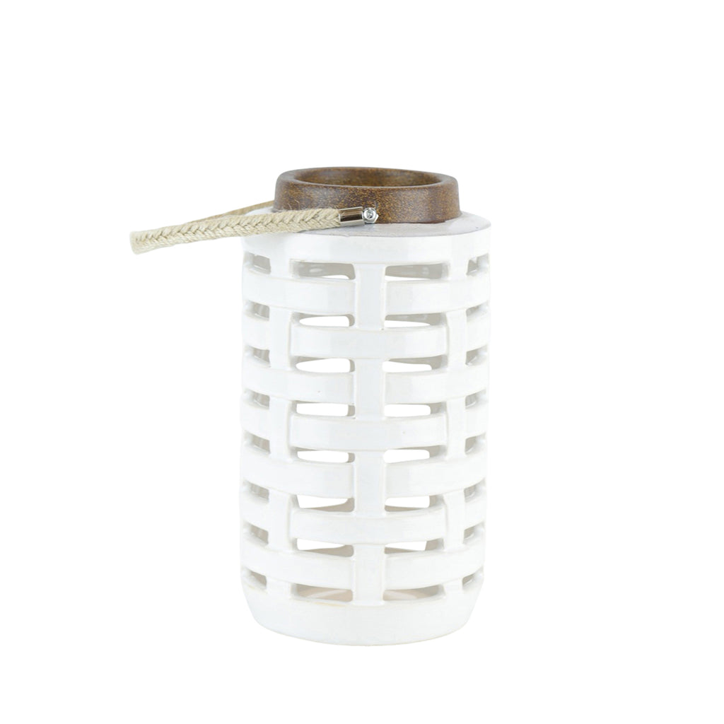 "Ceramic Lattice Weave Lantern , 10.75"", White"