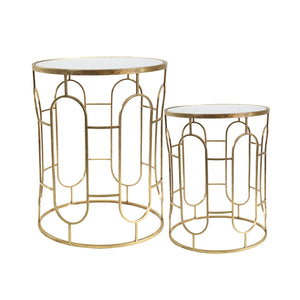 "S/2 Mirrored Round Accent Tables 24/20"" Gold"