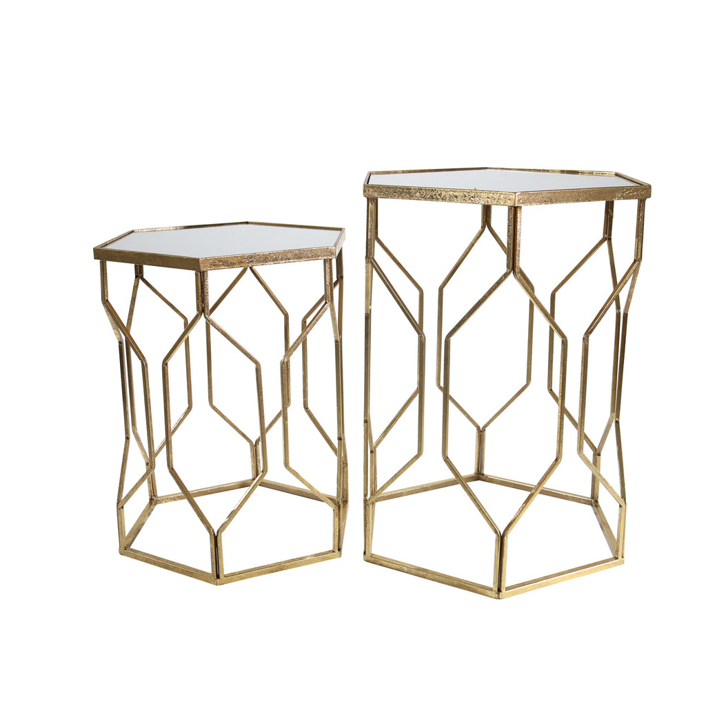 "S/2 Mirrored Hexagon Accent Tables 25/21"" Gold"
