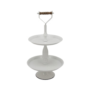 "Metal 2 Tier 11.75"" Round Tray, White Kd"