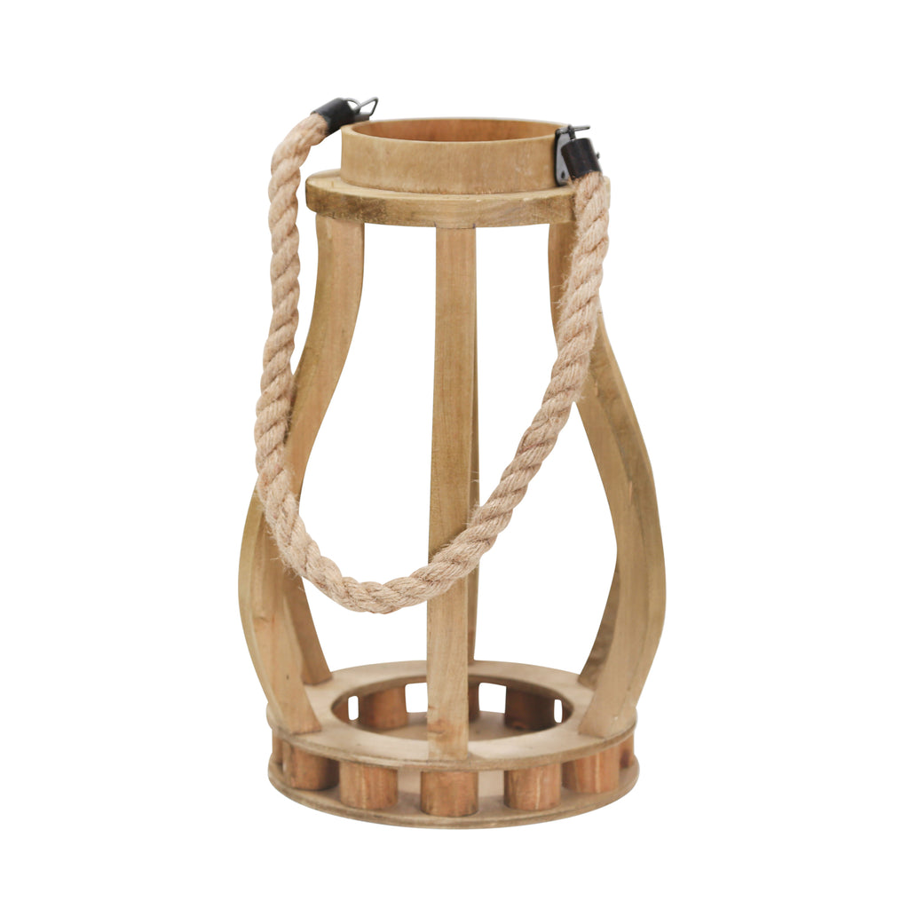 "Wood 13.75"" Lantern With Ropehanger, Brown - ReeceFurniture.com"