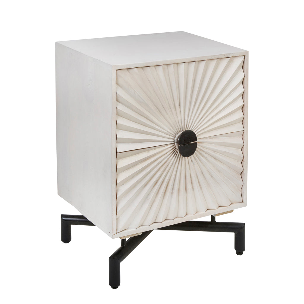 "Mango Wood 31"" Sunburst 2 Drawer Side Table, White"