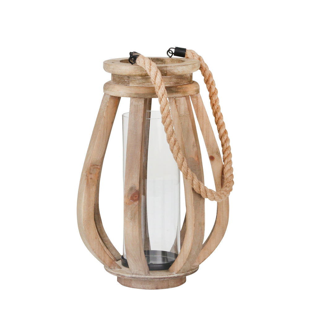 "Wood 16"" Lantern W/Glass, Brown"