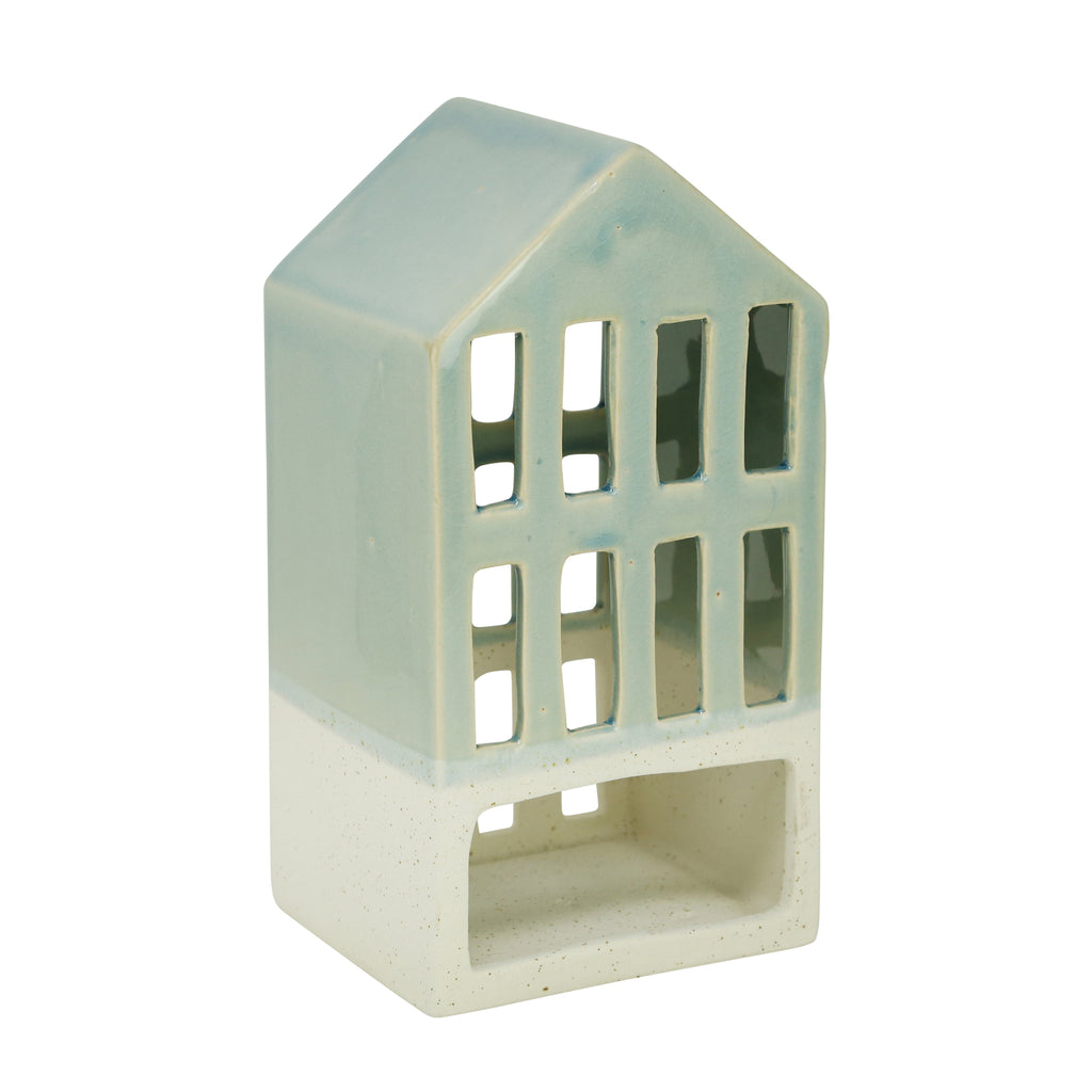 "Blue 9.5"" Ceramic House Lantern"