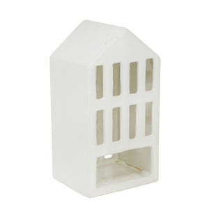 "White Ceramic 9.5"" House Lantern"