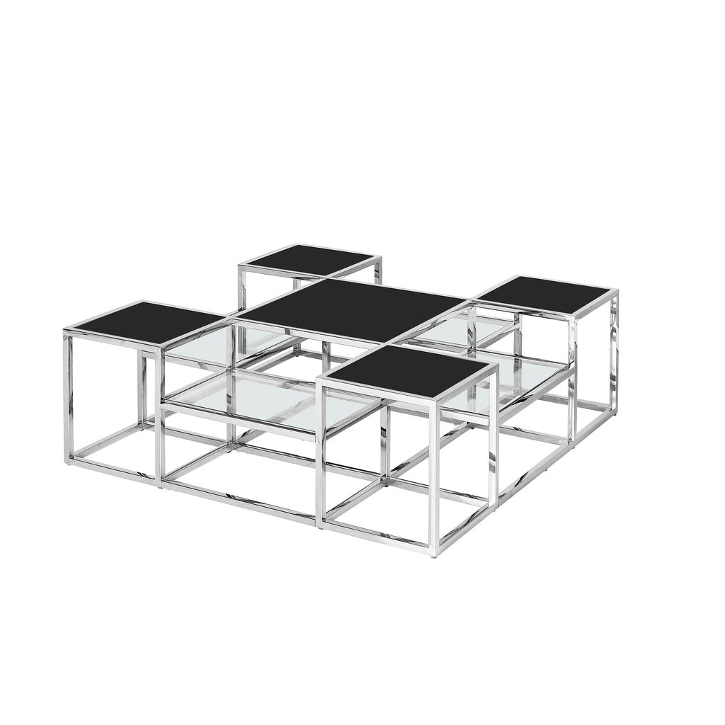 Stainless Steel Cocktail Table, Silver/Black Glass