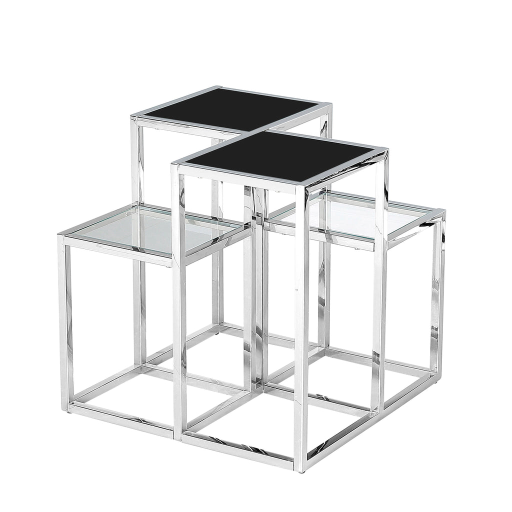 Stainless Steel Accent Table, Silver/Black Glass