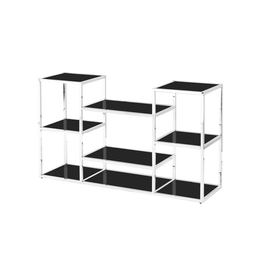 Stainless Steel Console Table, Silver/Black Glass - ReeceFurniture.com