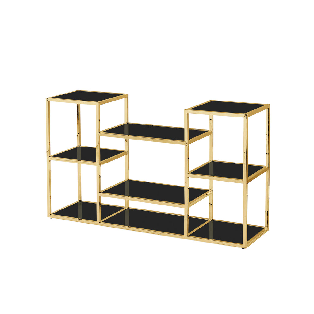 Stainless Steel Console Table, Gold/Black Glass - ReeceFurniture.com