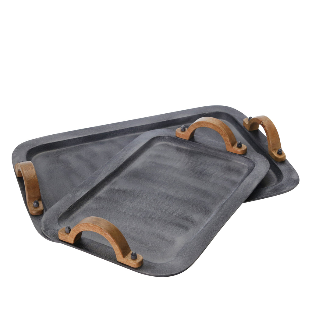 "S/2 Aluminum/Wood 23/18"" Trays, Gray"