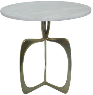 "Metal 20"" Accent Table W/ White Marble, Gold"