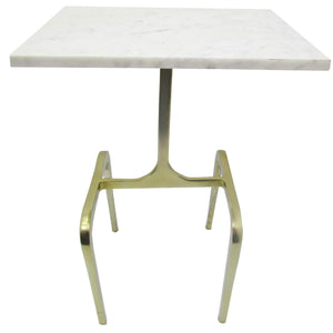 "Metal 22""  4-Legged Accent Table, White Marble, Gold"