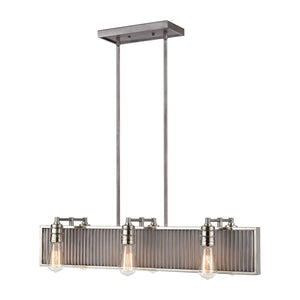Corrugated Steel - Chandelier - Weathered Zinc, Polished Nickel, Polished Nickel