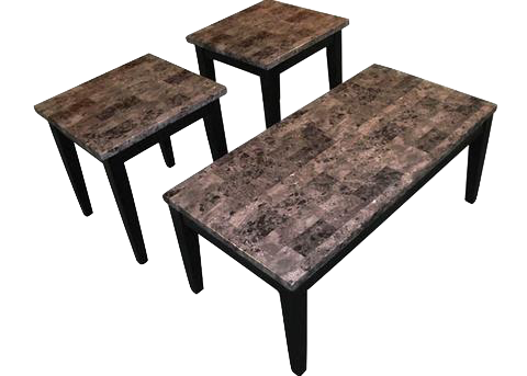 16000L Black Faux Marble Cocktail Table & Two End Tables, Occasional Tables, American Imports, - ReeceFurniture.com - Free Local Pick Ups: Frankenmuth, MI, Indianapolis, IN, Chicago Ridge, IL, and Detroit, MI