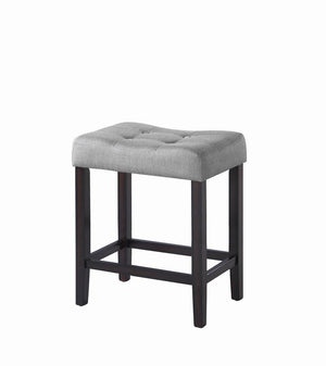 G182013 - Grey Upholstered Backless Stool - Bar or Counter Height