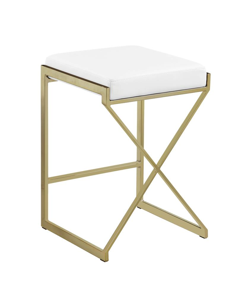 G182565 - Upholstered Stool - White And Sunny Gold or Taupe And Sunny Gold