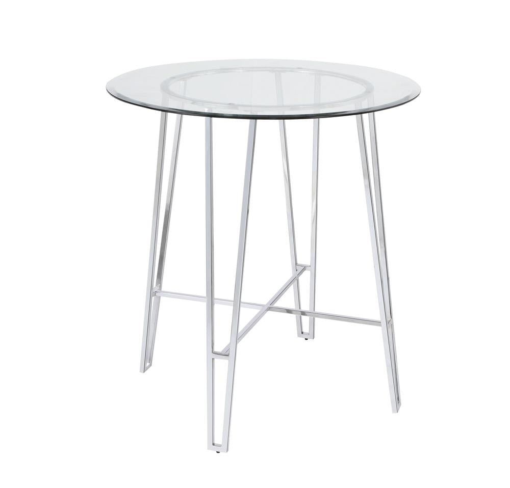 G182801 - Round Glass Top Bar Table Chrome
