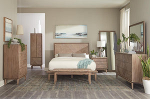 G223050 - Vanowen Bedroom Set - Wooden Carved Patterned Headboard - ReeceFurniture.com