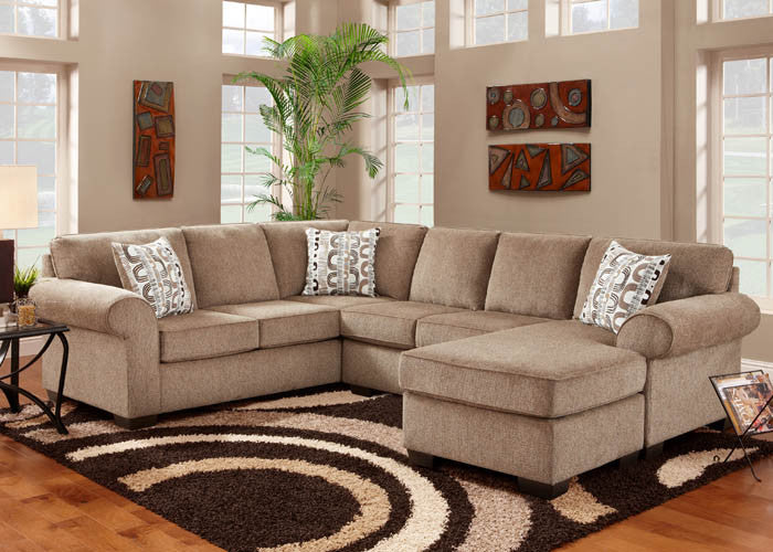 3050 Jesse Cocoa 3 Piece Sectional, Stationary Sectionals, Affordable, - ReeceFurniture.com - Free Local Pick Ups: Frankenmuth, MI, Indianapolis, IN, Chicago Ridge, IL, and Detroit, MI