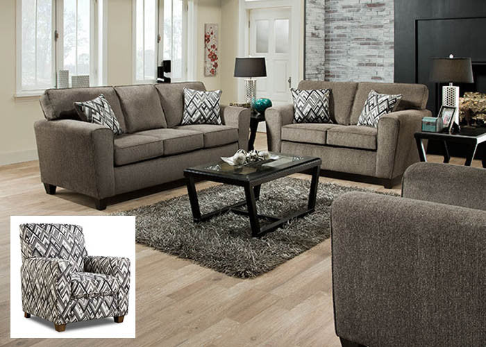 3100 Cornell Pewter Sofa, Stationary Upholstery, American Furniture Manufacturing, - ReeceFurniture.com - Free Local Pick Ups: Frankenmuth, MI, Indianapolis, IN, Chicago Ridge, IL, and Detroit, MI