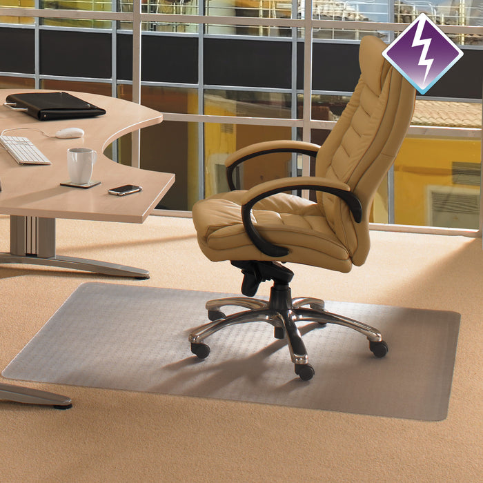 "Computex Anti-Static Advantagemat PVC Rectangular Lipped Chair mat for Standard Pile carpets 3/8"" or less  (48"" x 60"")"