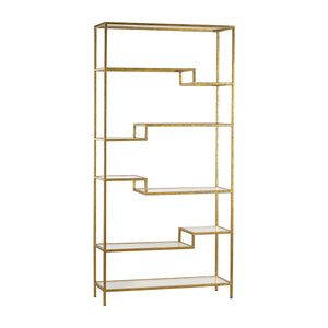 351-10209 Gold and Mirrored Shelving Unit, Shelf, Elk Home, - ReeceFurniture.com - Free Local Pick Ups: Frankenmuth, MI, Indianapolis, IN, Chicago Ridge, IL, and Detroit, MI